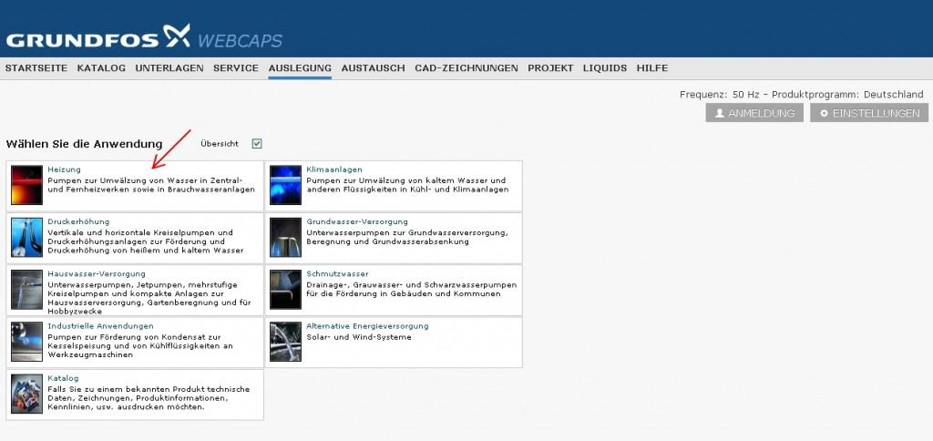 Pumpenauslegung mit Grundfos WebCAPS