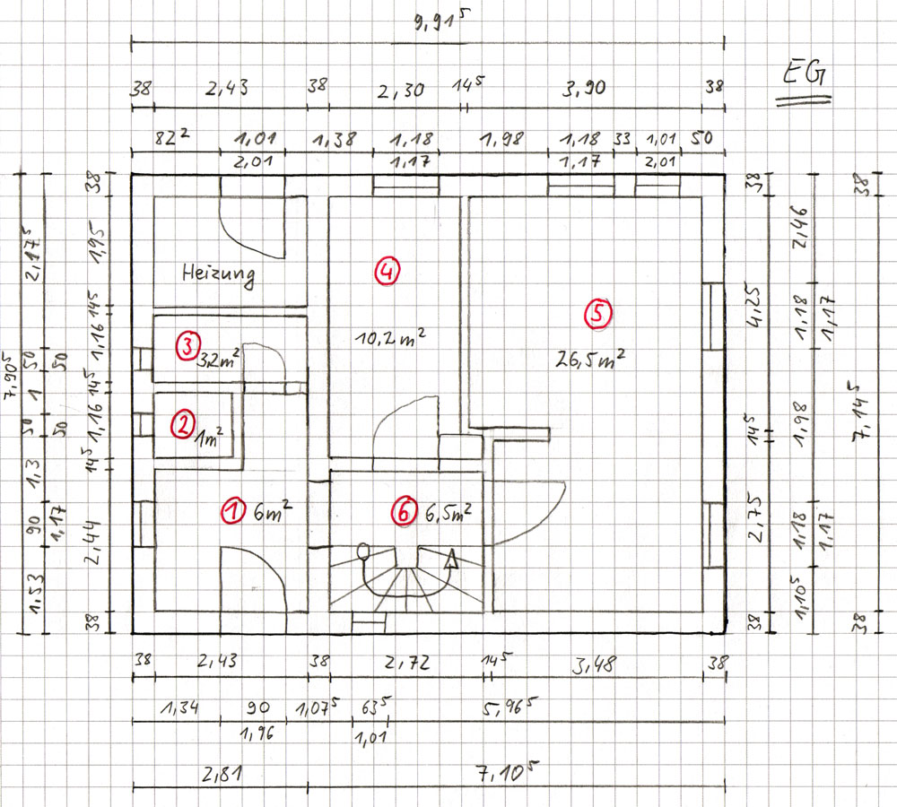 erdgeschoss eg - Heizlastberechnung Beispiel