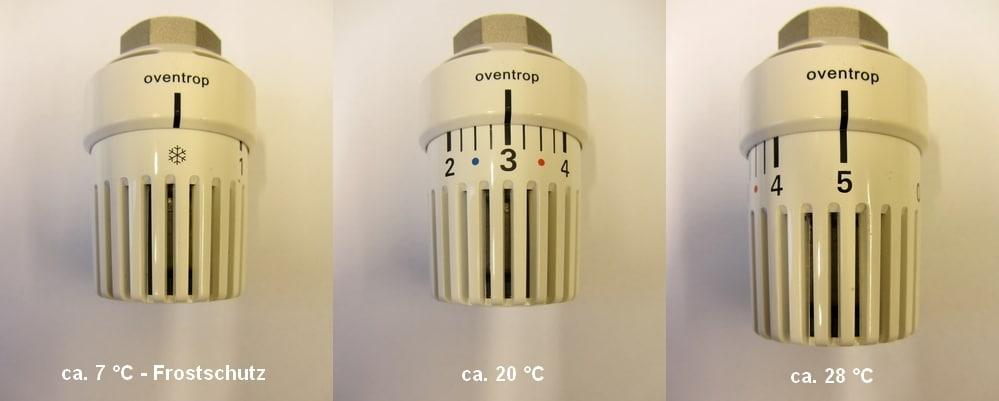 Einstellung des Thermostatkopfes – Bild Links: Einstellung auf Stufe 0 und entspricht ca. 7 °C – Frostschutz; Bild Mitte: Einstellung auf Stufe 3 und entspricht ca. 20 °C; Bild Rechts: Einstellung auf Stufe 5 und entspricht ca. 28 °C
