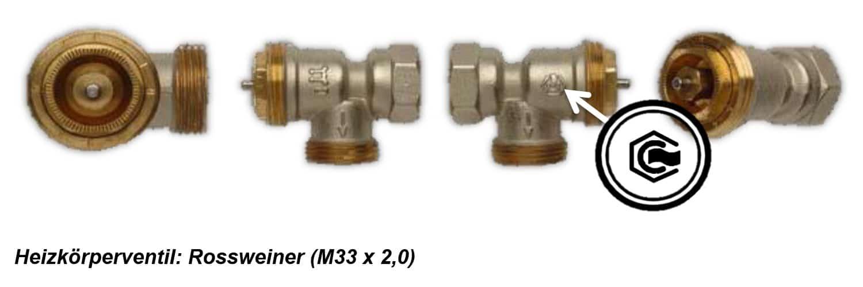 Heizkörperventil Rossweiner M33 x 2,0
