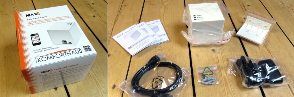 Im linken Bild sieht man die Verpackung des MAX! Cubes, rechts den Verpackungsinhalt: die Bedienungsanleitung, den Cube, die Wandhalterung, ein LAN Kabel, Befestigungsschrauben und einen Netzstecker