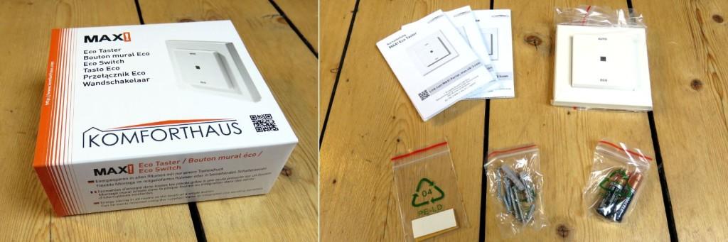 Links ist die Verpackung des Eco Tasters zu sehen. Rechts der Inhalt des Paketes: die Bedienungsanleitung, der Eco Taster, Klebestreifen, Befestigungsschrauben und zwei Batterien.