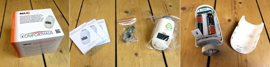 Links im Bild die Verpackung, mittig im Bild die Bedienungsanleitung, ein Adapter für Danfoss Ventile und rechts das offene Thermostat mit Blick auf die Batterien im Batteriefach