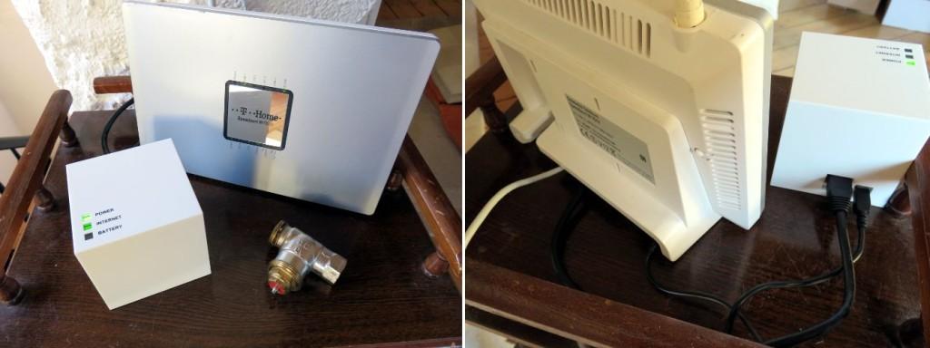 Links im Bild ist der MAX! Cube mit Router auf einem kleinen Tisch zu sehen. Rechts ist der Router mit MAX! Cube von Hinten und den Anschlüssen zu sehen.