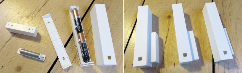 Links sind die Einzelteile der Fensterkontakte zu sehen: Magnetkontakt mit Abdeckung, Unterteil Funkelement, Funkelement mit Batterien sowie die Abdeckung des Funkelementes. Rechts sind die drei zusammengebauten Fensterkontakte zu sehen.