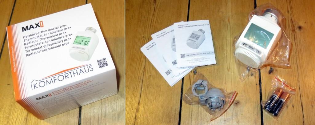 Links im Bild die Verpackung, rechts im Bild die Bedienungsanleitung Adapterset für die Danfoss Ventile RA, RAV und RAVL