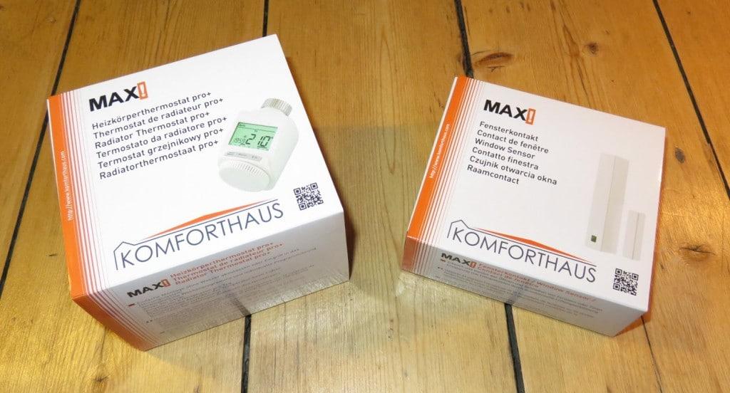 Verpackung MAX! Heizkörperthermostat Plus und MAX! Fensterkontakt