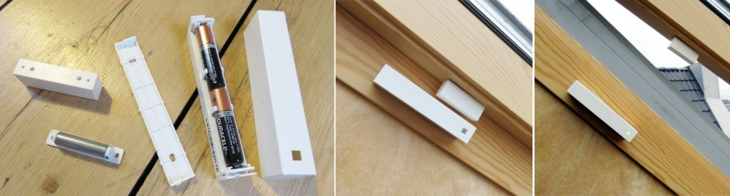 MAX! Heizungssteuerung - Installation der Fensterkontakte: Links zusammenbau der Fensterkontakte, Mitte Fenster mit Fensterkontakt, Rechts offenes Fenster mit Fensterkontakt