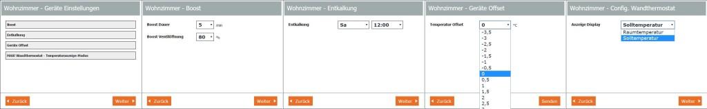 MAX! Software - Einrichtung: Geräteeinstellungen: Übersicht der Geräteeinstellungen wie Einstellparameter der Boostfunktion, Einstellparameter der Entkalkung, Einstellparameter des Geräte Offsets sowie der Displayanzeige vom Wandthermostat