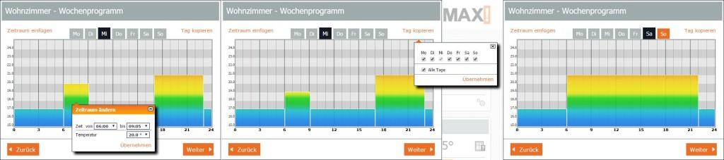 MAX! Software - Einrichtung des Wochenprogramms: Links sind die Einstellungen der Zeitblöcke zu sehen, in der Mitte sieht man den Kopiervorgang der Heizzeiten für verschiedene Wochentage, Rechts ist das Heizprofil eines Wochenendes zu sehen.