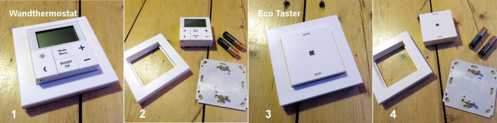 Im ersten Bild links sieht man das zusammengebaute Wandthermostat, im zweiten Bild die Einzelteile des Wandthermostats, bestehend aus: dem Thermostatelement, einem Aufputzrahmen, eine Halterungsplatte sowie zwei Batterien. Im dritten Bild sieht man den zusammengebauten Eco Taster, im vierten Bild die Einzelteile des Eco Tasters, bestehend aus: dem Eco Taster, einem Aufputzrahmen, eine Halterungsplatte sowie zwei Batterien.