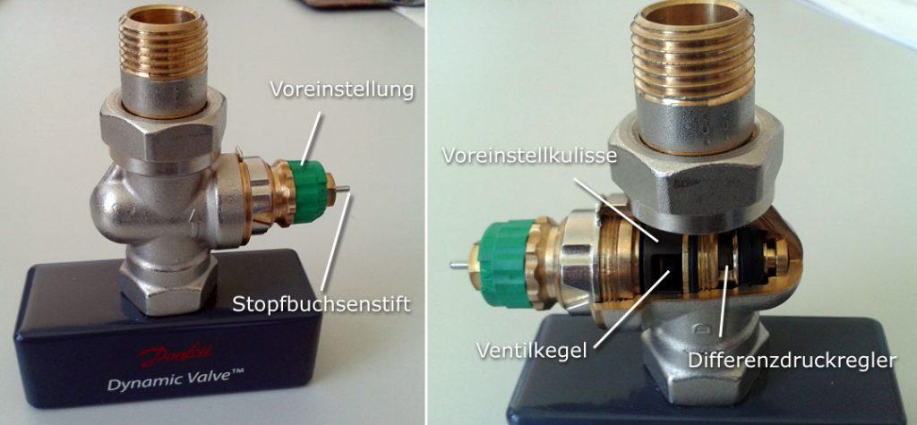 Querschnitt Danfoss Dynamic Valve - Bild links: äußeres Ventilgehäuse; Bild rechts: aufgeschnittenes Ventilgehäuse mit Blick auf Ventilkegel und internen Differenzdruckregler