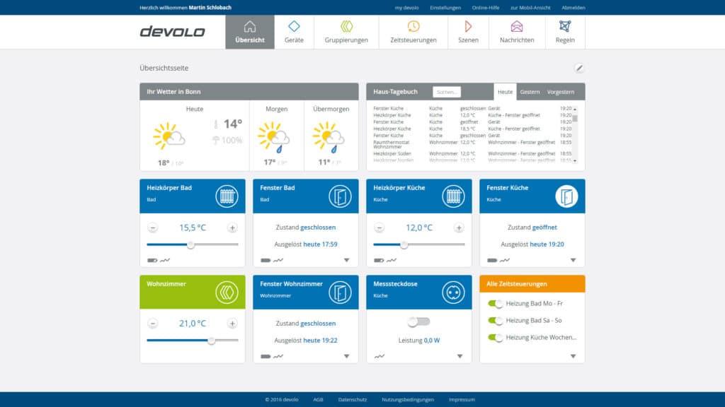 MyDevolo Übersicht mit allen Einstellungen