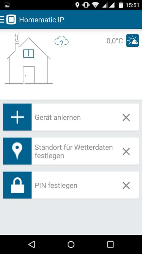 Homematic IP-App-Startbildschirm