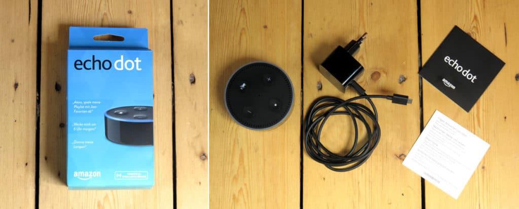 Verpackung Amazon Echodot mit Inhalt