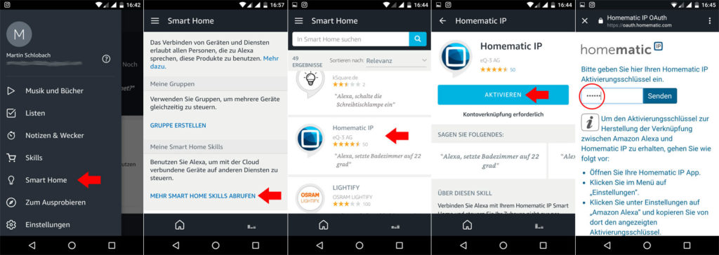 Smart Home Skill für die Alexa App
