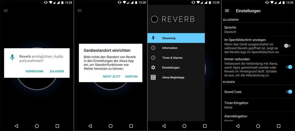Screenshot der Alexa Reverb App