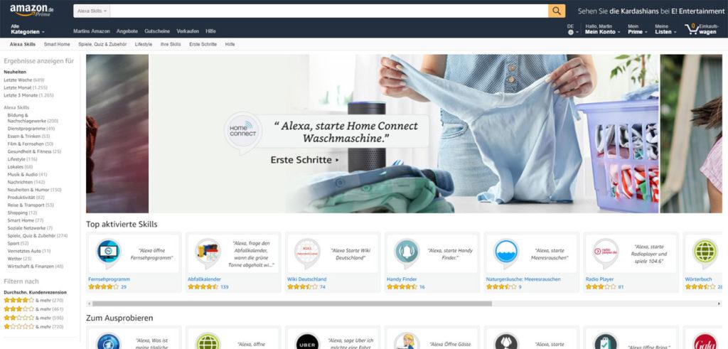 Alexa Skills auf Amazon