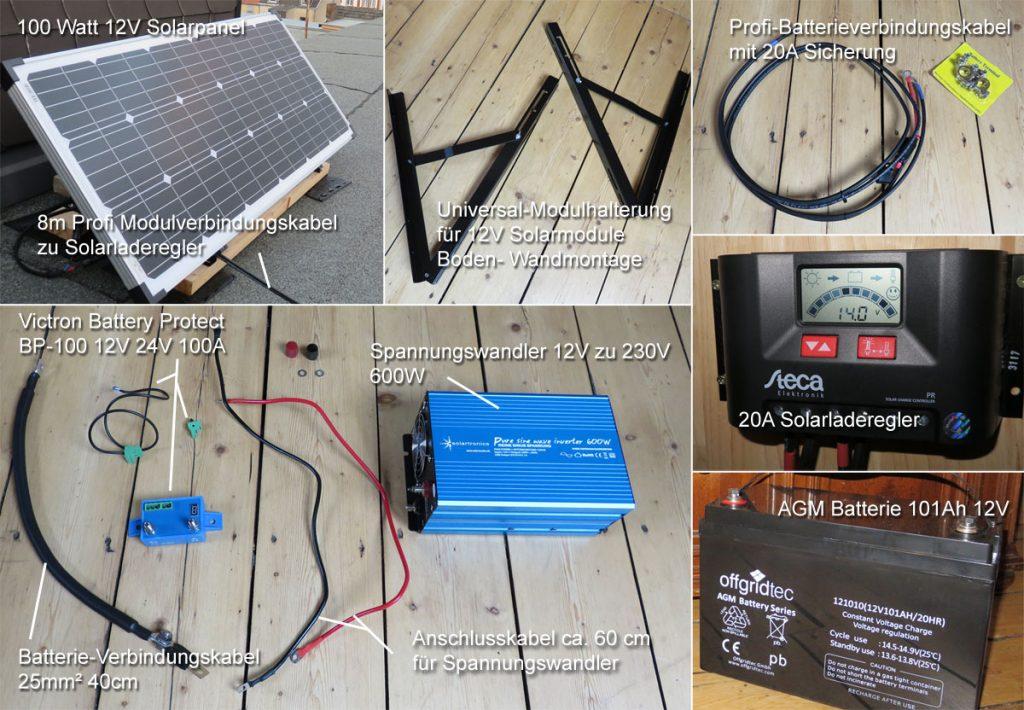 Einzelteile des Autarkie Solarsets