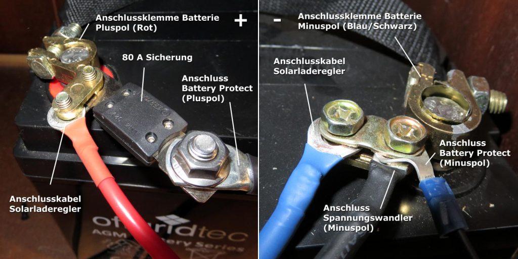 Solarset Kabelmontage an Batterie