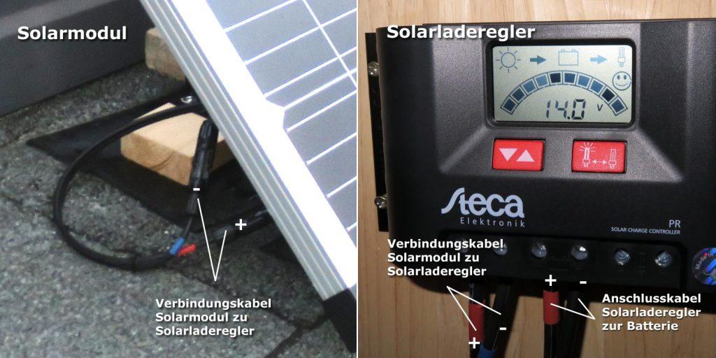 Solarset Kabelmontage an Solarladeregler und Solarmodul